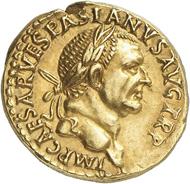 Nr. 541: VESPASIANUS, 69-79. Aureus 71, Lugdunum. Rv. IVDAEA DEVICTA. Äußerst selten. Vorzüglich. Taxe: 30.000,- Euro. Zuschlag: 300.000,- Euro.