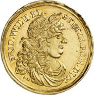 Nr. 5136: POMMERN UNTER BRANDENBURG-PREUSSEN. 4 Dukaten 1677, Berlin, auf die Eroberung von Stettin durch die Brandenburger am 27. Dezember. Äußerst selten. Vorzüglich. Taxe: 15.000,- Euro. Zuschlag: 48.000,- Euro.