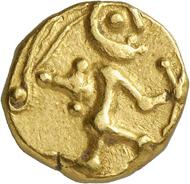 Nr. 14: BOIER (Kelten). Goldstater, 2./1. Jh. v. Chr. Sehr selten. Sehr schön. Taxe: 1.250,- Euro. Zuschlag: 8.500,- Euro.