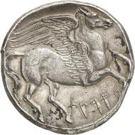 Nr. 135: SIKULOPUNIER (Sizilien). 5 Schekel (Dekadrachme), um 264. Sehr selten. Vorzüglich. Taxe: 75.000,- Euro. Zuschlag: 85.000.- Euro.