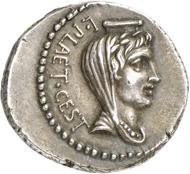 Nr. 422: RÖMISCHE REPUBLIK. M. Iunius Brutus. Denar, 42 kleinasiatische oder nordgriechische Münzstätte, Münzmeister L. Plaetorius Cestianus. Sehr selten. Vorzüglich. Taxe: 1.500,- Euro. Zuschlag: 17.000,- Euro.