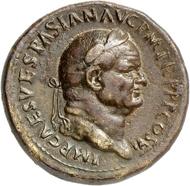 Nr. 545: VESPASIANUS, 69-79. Sesterz 75, Rom. Rv. Tempel des Iuppiter Capitolinus. Äußerst selten. Gutes sehr schön. Taxe: 2.500,- Euro. Zuschlag: 14.000,- Euro.