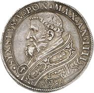 Nr. 1720: VATIKAN. Sixtus V., 1585-1590. Piastra AN IIII / 1588. Sehr selten. Vorzüglich. Taxe: 5.000,- Euro. Zuschlag: 10.500,- Euro.