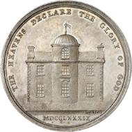Nr. 4374: GROSSBRITANNIEN. Silbermedaille 1789 von W. Mossop auf den Baubeginn der Sternwarte von Armagh und seinen Erbauer Erzbischof Robinson. Sehr selten. Vorzüglich. Taxe: 400,- Euro. Zuschlag: 5.500,- Euro.