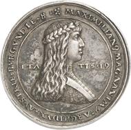 Nr. 4628: RDR. Maximilian I., 1490-1519. Silbermedaille o. J. (nach 1511) im Gewicht eines dreifachen Schauguldiners auf seine 1. Hochzeit mit Maria von Burgund. Äußerst selten. Sehr schön bis vorzüglich. Taxe: 3.000,- Euro. Zuschlag: 22.000,- Euro.