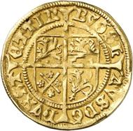 Nr. 5002: POMMERN. Herzog Bogislaw X., 1474-1523. Goldgulden o. J. (1498/9), Stettin. Die erste Goldmünze Pommerns. Äußerst selten. Sehr schön. Taxe: 10.000,- Euro. Zuschlag: 19.000 Euro.