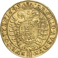 Nr. 5483: RDR. Ferdinand III., 1625-1637. 10 Dukaten 1645, Wien. Sehr selten. Fast vorzüglich. Taxe: 25.000,- Euro. Zuschlag: 46.000,- Euro.