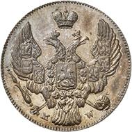 Nr. 6256: RUSSLAND. Für POLEN. Nikolaus I., 1825-1855. Probe zu 10 Kopeken / 20 Groszy 1842, Warschau. Sehr selten. PP. Taxe: 5.000,- Euro. Zuschlag: 20.000,- Euro.