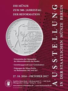 In einer Ausstellung zeigt die Münze Berlin u.a. die Gipsmodelle, die für die neue Prägung zu 500 Jahre Reformation eingereicht wurden.