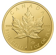 Der kanadische Maple Leaf in Gold. Es gibt ihn seit 1979. Foto: Royal Canadian Mint.