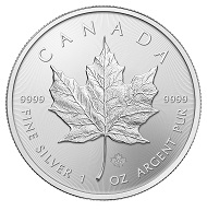 Der kanadische Maple Leaf in Silber. Foto: Royal Canadian Mint.