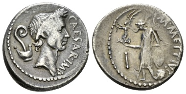 Lot 274: Julius Caesar and M. Mettius. Denarius circa 44. Sydenham 1056. About Extremely Fine. From the E.E. Clain-Stefanelli Collection. Starting Bid: 400 GBP.