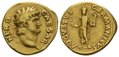 Lot 313: Nero, 54-68. Aureus circa 64-65. Very Fine. Starting Bid: 1,200 GBP.