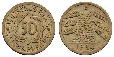 Deutschland. 50 Reichspfennig, 1924, E. Mit Expertise Franquinet. vz+. Ausruf: 2.000 Euro.