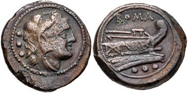 Lot 399: Anonymous. After 211 BC. Quadrans. Uncertain mint. Crawford 56/5. VF. From the Andrew McCabe Collection. Estimate $150.
