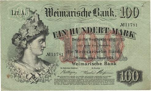 Los 11: Sachsen-Weimar-Eisenach. 100 Mark 1.1.1874. Weimarische Bank. Sehr selten. II. Schätzpreis: 700 Euro.