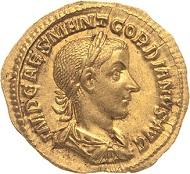 Los 765: Gordianus III. 238-244. Aureus 239, Rom. 4,76 g. Fast prägefrisch. Schätzpreis: 6.500 Euro.