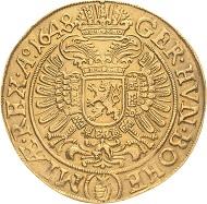 Los 1201: RDR. Ferdinand III. (1625) 1637-1657. 10 Dukaten 1648, Prag. 34,36 g. Münzmeister Jakob W. Wolker. Fast vorzüglich. Schätzpreis: 30.000 Euro.