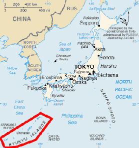 Map of Japan, Ryuku Islands marked red.