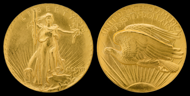 The 20 dollar coin, designed by Augustus Saint-Gaudens. Photo: National Numismatic Collection, National Museum of American History / Jaclyn Nash.