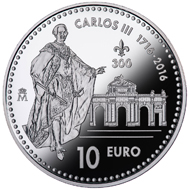Spain / 10 euro (8 reales) / .925 silver / 27g / 40mm / Mintage: 7,500.