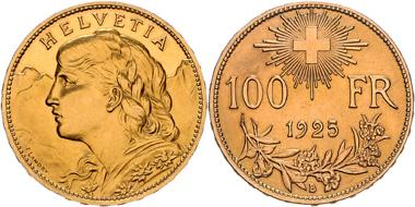 Los 1235: Schweiz, 100 Franken 1925 B. f.st/st. Schätzpreis: 15.000 EUR.