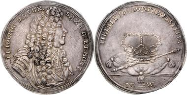 Los: 2018: Sachsen-Gotha-Altenburg, Friedrich I. (1680-1691), 1 1/2 Feinsilbertaler o.J., Gotha. Sehr selten, vz. Schätzpreis: 3.900 EUR.