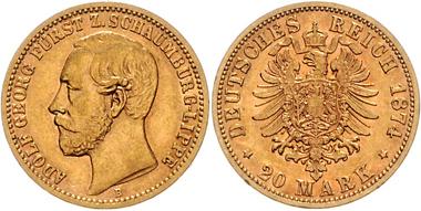 Los 2586: Schaumburg-Lippe. Adolf Georg (1860-1893). 20 Mark 1874 B. J.284. vz/st. Schätzpreis: 7.800 EUR.
