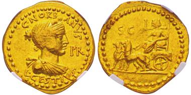 Lot 11: ROMAN REPUBLIC. L. Cestius and C. Norbanus, 43 BC. Aureus. Cr. 491/2. Graded NGC AU. Very rare. Extremely fine. Estimate: 10,000,- euros.