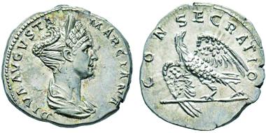 Lot 51: MARCIANA, sister of Trajan, 98-117. Denarius, Rome. RIC 743. Very rare. FDC. Estimate: 5,000,- euros.
