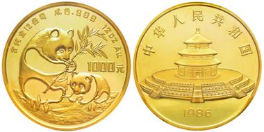 Lot 306: CHINA. 1000 yuan, 1986. 373.2g of gold. Graded NGC PF64 Ultra Cameo. Estimate: 12,000,- euros.