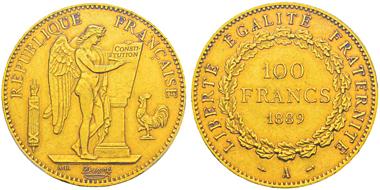 Lot 493: FRANCE. Third Republic, 1870-1940. 100 francs, Paris, 1889A. Gadoury 1137. Only 100 specimens struck. Graded PCGS AU55. Estimate: 25,000,- euros.