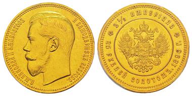 Lot 877: RUSSIA. Nicholas II, 1894-1917. 25 roubel, St. Petersburg, 1896. Bitkin 312. Only 300 specimens struck. Graded PCGS Genuine - AU Details. Estimate: 40,000,- euros.