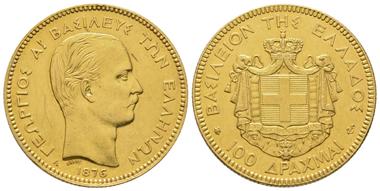 Lot 769: Greece, George I (1863-1913), 100 drachmai, 1876 A, Paris.