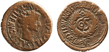 Bronze as of Tiberius featuring the consulship of Sejanus, whose name was erased after his downfall; Bilbilis (Spain), AD 31 (loaned by the Kunsthistorisches Museum of Vienna).