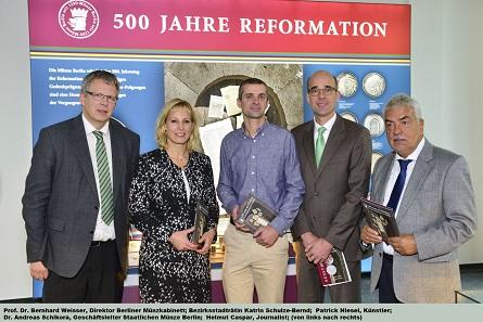 Von links nach rechts: B. Weisser, K. Schulze-Bernd, P. Niesel und A. Schikora. Foto: © Staatliche Münze Berlin.