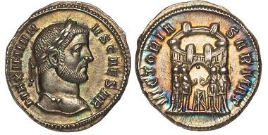 103593: Galerius. (Caesar, 293-305 AD). Struck 295 AD. AR Argenteus, Ticinum. NGC Ch. MS. 3,450 USD.