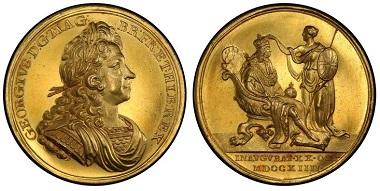 1038779: GREAT BRITAIN. George I. (King, 1714-1727). 1714 AV Coronation Medal. PCGS SP62. 14,500 USD.