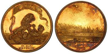 1038155: INDIA-BRITISH. 1799 Gilt Silver Medal. PCGS SP62. 3,950 USD.