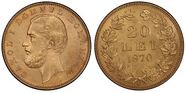 1039072: ROMANIA. Carol I. 1870-C AV 20 Lei. PCGS MS65. 26,500 USD.