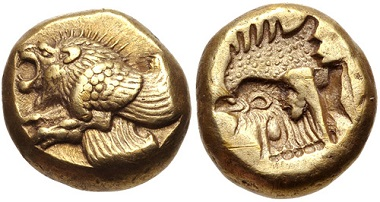 Lot 212: LESBOS, Mytilene. Circa 521-478 BC. EL Hekte - Sixth Stater. VF. Estimate: 300 USD.