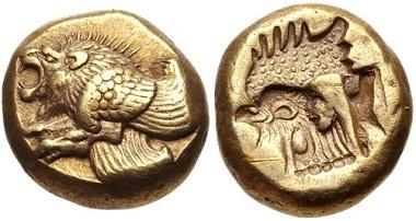 Lot 212: LESBOS, Mytilene. Circa 521-478 BC. EL Hekte - Sixth Stater. VF. Estimate: 300 USD.