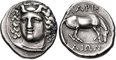 Lot 116: THESSALY, Larissa. Circa 356-342 BC. AR Drachm. VF. Estimate: 300 USD.