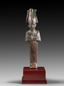 Lot 456: Great Osiris. Late Period, 26th-30th dynasty, 664-332 BC. H 30 cm. Solid bronze cast. From D. T. Collection, Germany, acquired before 1980. Estimate: 12,000 euros.