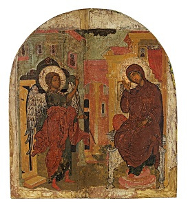 Lot 629: Icon: Annunciation. Russia, around 1600. H 44 cm, W 39.5 cm. From V.S.-K. Collection, Munich, acquired in the early 1980s. Estimate: 4,000 euros.