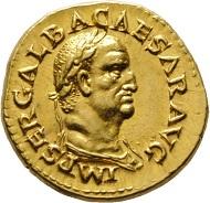 Los 46: Galba (68-69). Aureus. Gold RRR stplfr. Startpreis: 150.000 EUR.