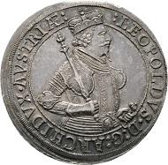 Los 2393: RÖMISCH DEUTSCHES REICH. Erzherzog Leopold (1618)-1625-1632. Dreifacher Taler o.J., Hall. RRR vzgl.+/f.stplfr. Startpreis: 3.500 EUR.