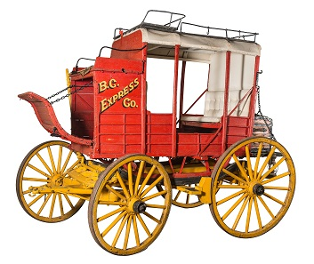 British Columbia Express Company stagecoach. Recovered from the bush, this stagecoach has been restored by the Historic O'Keefe Ranch, founded during the British Columbia gold rush. Courtesy of the O'Keefe Ranch & Interior Heritage Society.