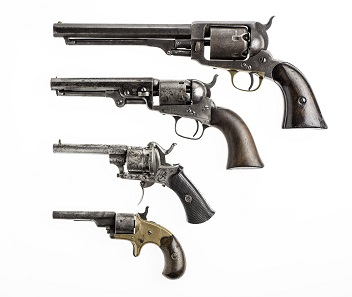 Revolvers. Image RBCM 2012.242.2, 972.213.1, 965.2491.1a-c, 966.26.1 courtesy of the Royal BC Museum and Archives.