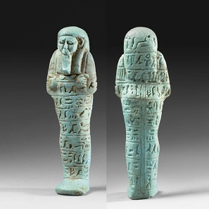 No. 63. Ancient Egyptian Shabti for the Governor of Upper Egypt, Ankh-Hor. 10 cm. Egypt 26th Dynasty, 640-570 B.C. Estimate: 5,500-7,250 Euro.